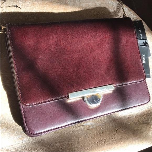 Dkny Handbags - Maroon Calf Hair Flap Closure Hand Bag